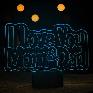 I Love You Mom&dad Shape 3D Led Lamp - Goamiroo Store