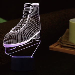 Ice Skates Shape 3D Led Lamp - Goamiroo Store