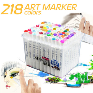 60/80/218Colors Artist Oily Alcoholic Sketch Copic Marker Set-GoAmiroo Store