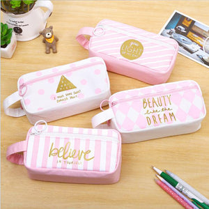 Cute Kawaii Canvas Large Capacity Pencil Case Lovely Pen Storage - Goamiroo Store