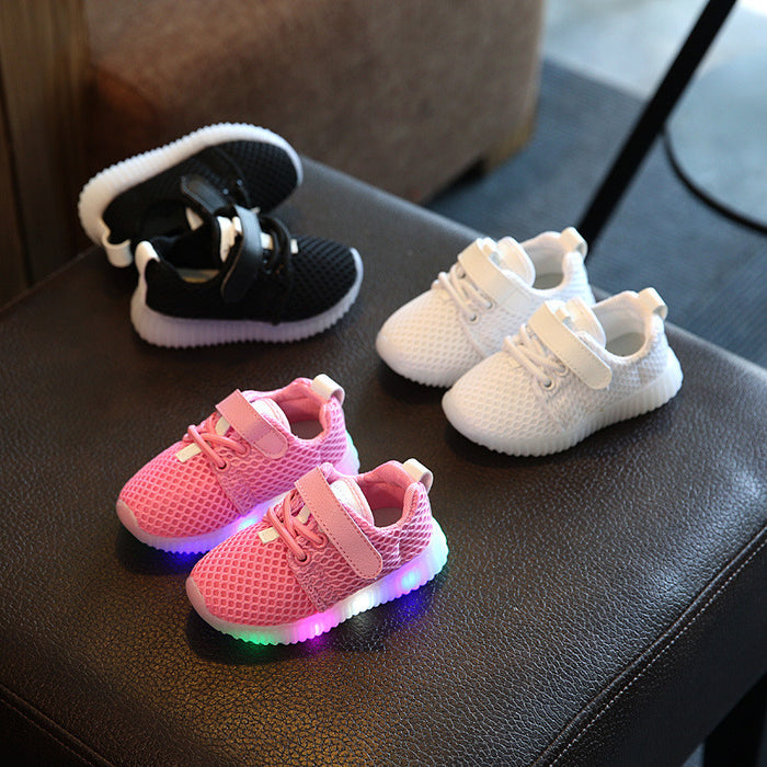 3 styles Colorful Light Up Breathable Luminous kid Shoes
