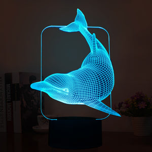 Lovely Naughty Dolphin 3D Led Lamp - Goamiroo Store