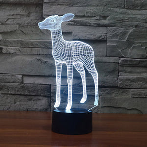 Lovely Elk Shape 3D Led Lamp - Goamiroo Store