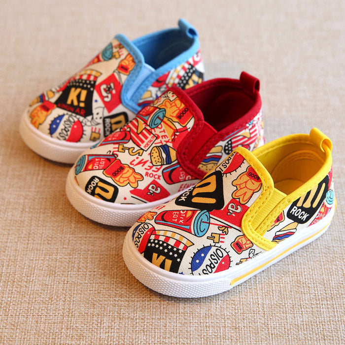 3 colors Food pattern Kids casual canvas shoes