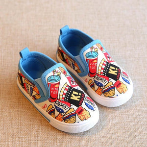 3 colors Food pattern Kids casual canvas shoes-GoAmiroo Store