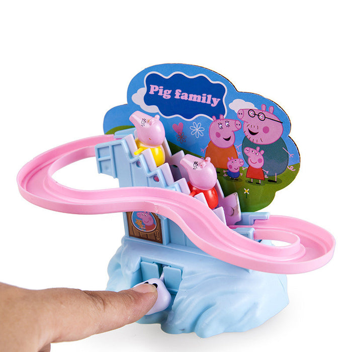 Plastic pig Climbing Stairs Track Toy