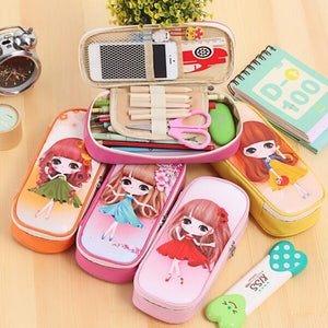 Kawaii Lovely Girls School Large Capacity Pu Leathe Pencil Cases For Kids - Goamiroo Store