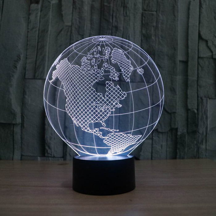 America map shape globe shape 3D LED Lamp