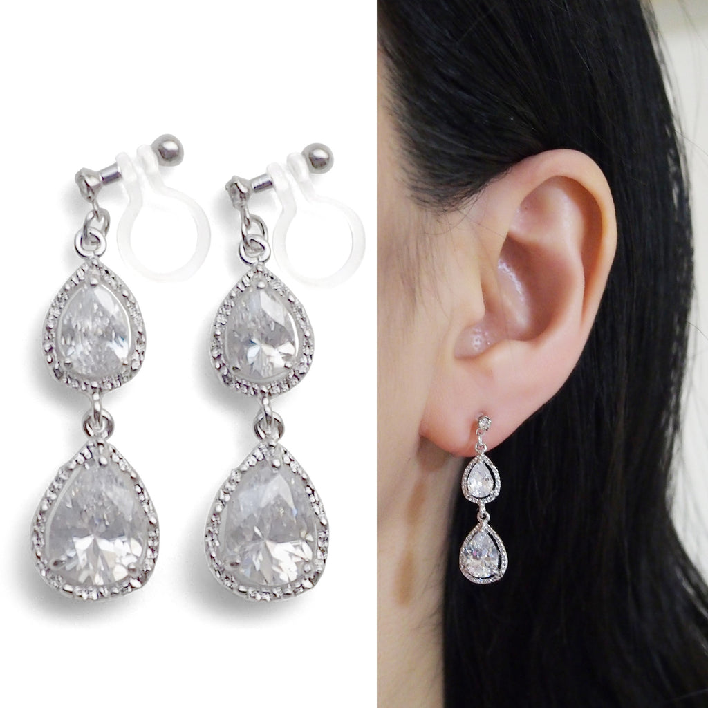 Bridal invisible clip on earrings