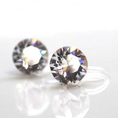 Swarovski crystal invisible clip on earrings