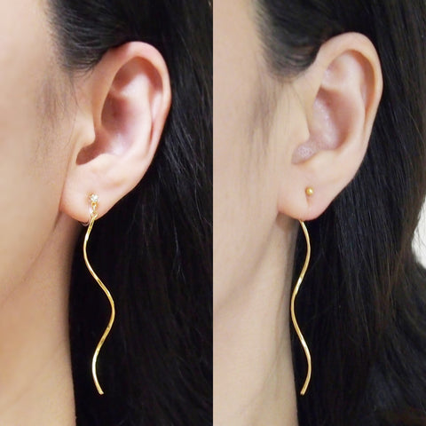 Comfortable pierced look two way dangle long gold waved curved bar threader invisible clip on earrings MiyabiGrace 耳環夾 ノンホールピアス 夾式耳環