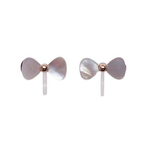 Mother Of Pearl Bow Tie Invisible Clip On Stud Earrings (Gold tone) - Miyabi Grace