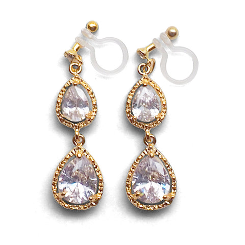 Bridal double teardrop cubic zirconia invisible clip on earrings ( gold tone ) - Miyabi Grace