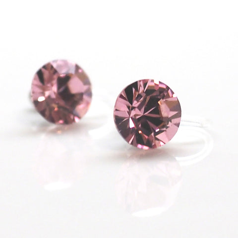 Comfortable pierced look light road light pink Swarovski crystal rhinestone invisible clip on stud earrings MiyabiGrace ノンホールピアス 夾耳環 夾式耳環 1