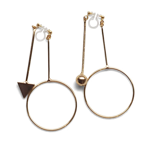 Double Sided Ball and Arrow Bar Clip on Hoop Earrings (Gold tone)