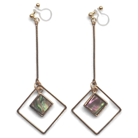 Abalone Shell and Dangle Long Square Hoop Invisible Clip on Earrings - Miyabi Grace