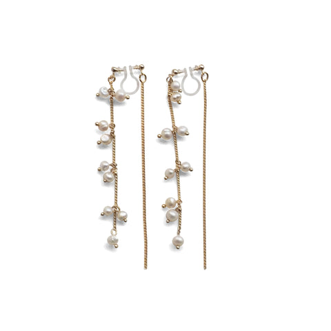 Double Sided Beaded White Freshwater Pearl Invisible Clip On Earrings (Gold tone) - Miyabi Grace