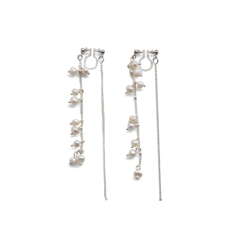 Double Sided Beaded White Freshwater Pearl Invisible Clip On Earrings (Silver tone) - Miyabi Grace