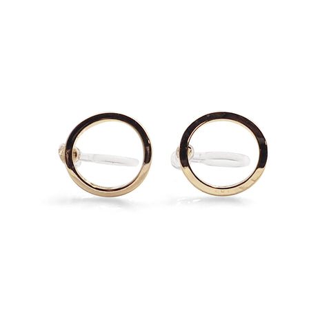 Curved Circle Hoop Invisible clip on stud earrings ( Gold tone ) - Miyabi Grace