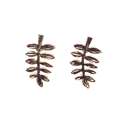 Tiny Leaf Invisible clip on stud earrings ( Gold tone ) - Miyabi Grace