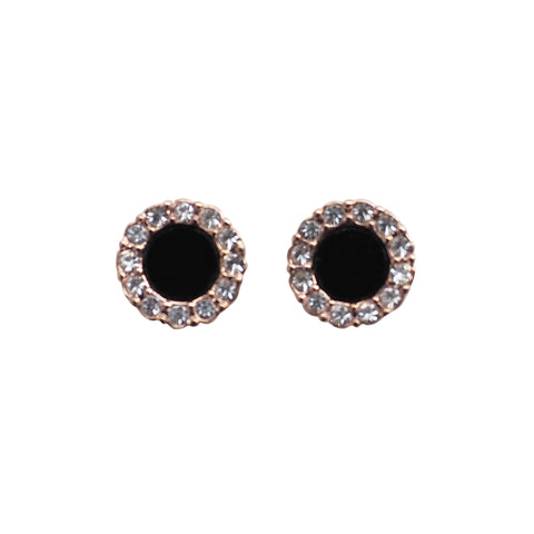 Rose Gold Round Swarovski Crystal Rhinestone Pave Invisible Clip On Stud Earrings ( Black ) - Miyabi Grace