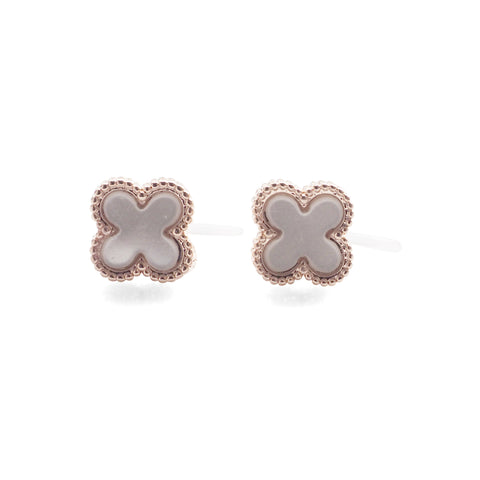 Rose Gold Clover Swarovski Crystal Rhinestone Pave Invisible Clip On Stud Earrings ( White ) - Miyabi Grace