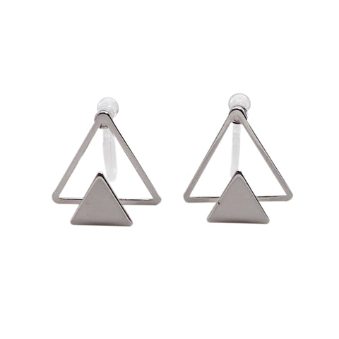 Dimentional Double Triangle Invisible clip on stud earrings ( Silver tone ) - Miyabi Grace