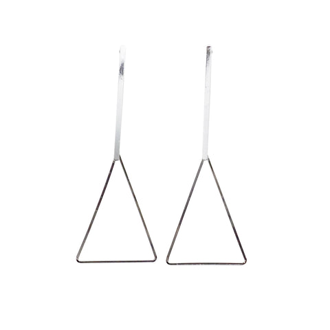 Bar and Triangle Hoop Invisible clip on earrings ( Silver tone ) - Miyabi Grace