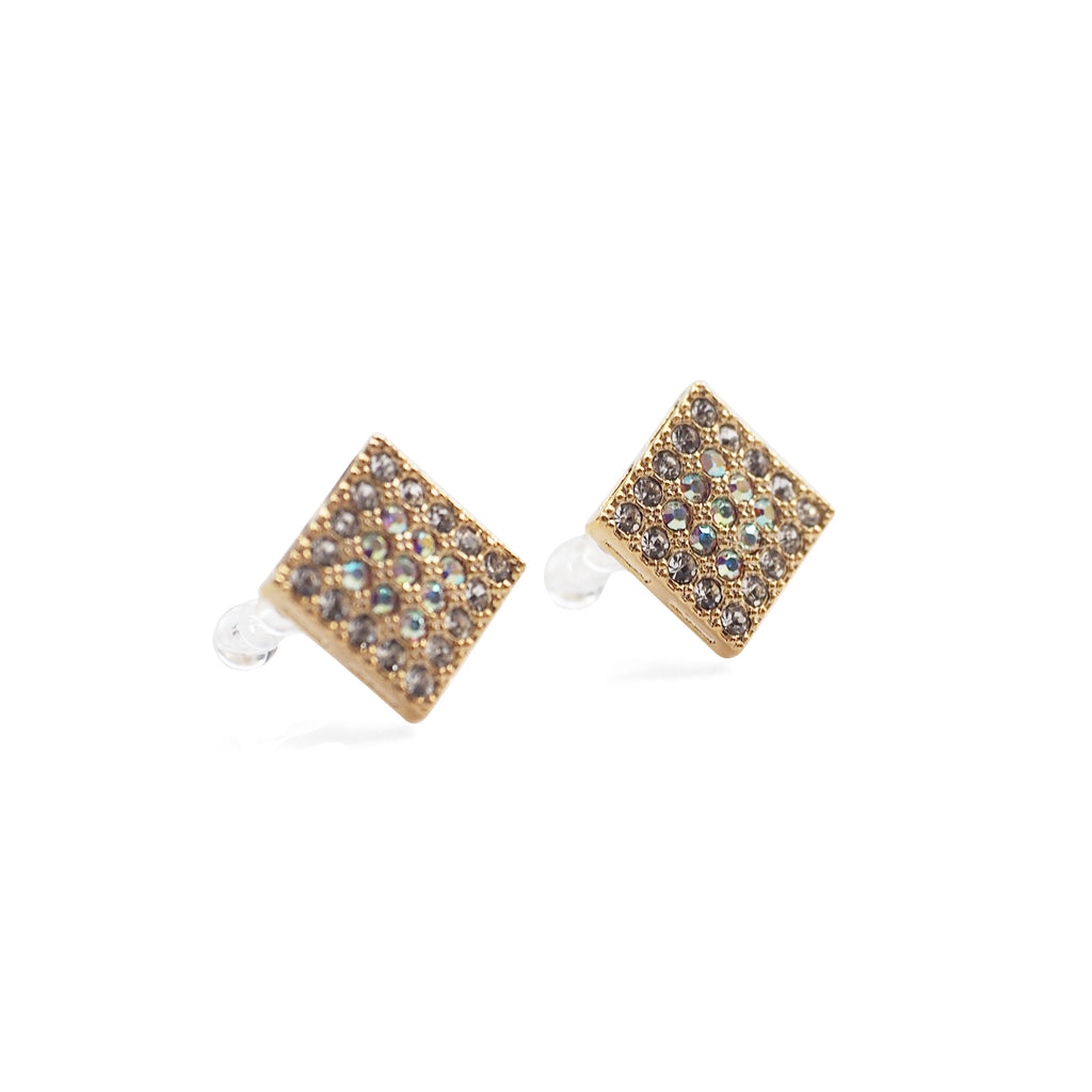 83f04bf08 ... Square Swarovski Crystal Rhinestone Pave Invisible Clip On Stud Earrings  ( Gold tone ) - Miyabi ...
