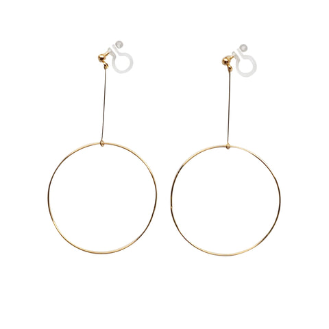 Dangle Gold Circle Hoop Invisible Clip On Earrings - Miyabi Grace