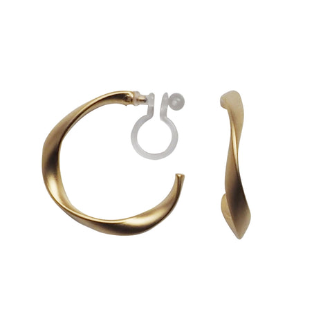 Gold Twisted Invisible Clip On Hoop Earrings - Miyabi Grace