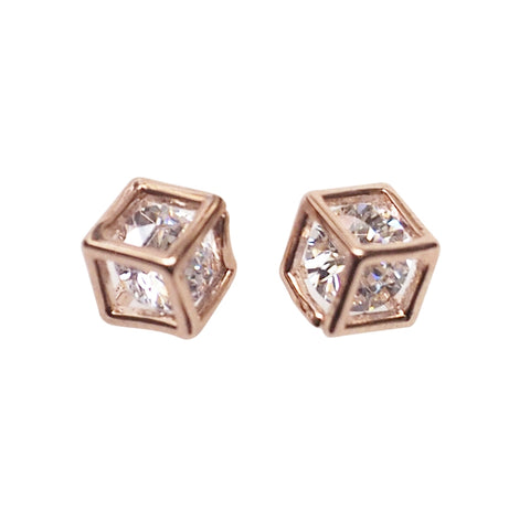 Cubic Zirconia Crystal In Cube Invisible Clip On Stud Earrings ( Rose gold tone ) - Miyabi Grace