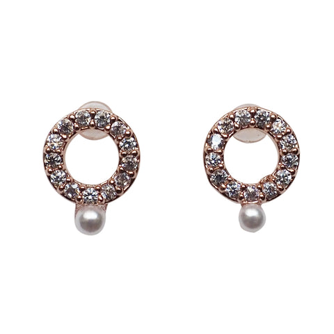 Cubic Zirconia Crystal Pave Hoop with White Pearl Invisible Clip On Stud Earrings  ( Rose gold tone ) - Miyabi Grace