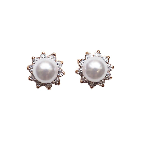 White Pearl & Cubic Zirconia Crystal Pave Invisible Clip On Stud Earrings ( Rose gold tone ) - Miyabi Grace