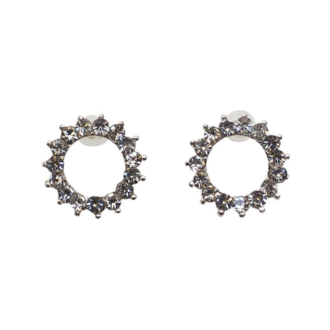 Circle Rhinestone Crystal Invisible Clip On Stud Earrings ( Silver tone ) - Miyabi Grace