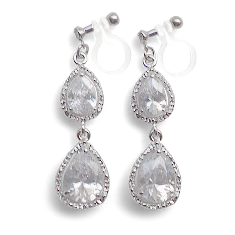 Bridal teardrop cubic zirconia invisible clip on earrings - Miyabi Grace