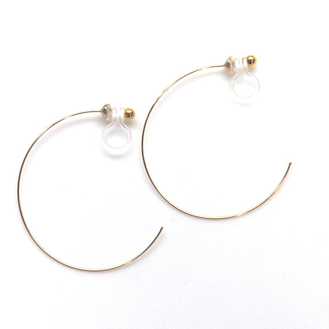 comfortable pierced look invisible clip on large gold hoop earrings MiyabiGrace 夾耳環 ノンホールピアス 夾式耳環 1