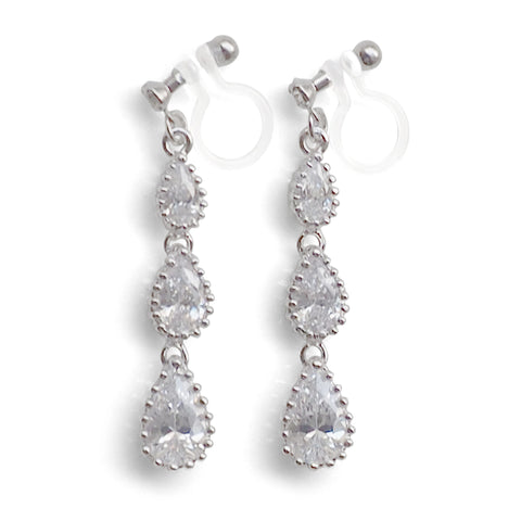 Bridal cubic zirconia invisible clip on earrings - Miyabi Grace