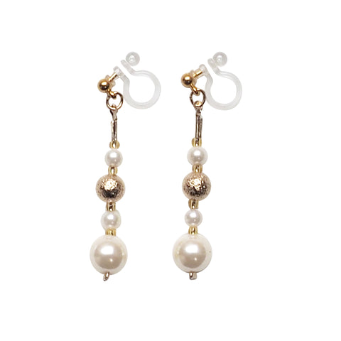 Dangle white pearls & metallic gold ball invisible clip on earrings - Miyabi Grace