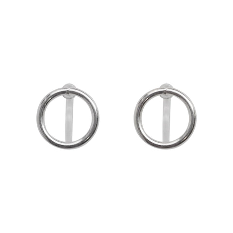 925 Sterling Silver Circle Invisible Clip On Stud Earrings - Miyabi Grace