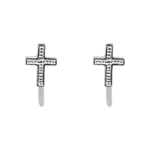 925 Sterling Silver Cross Invisible Clip On Stud Earrings - Miyabi Grace