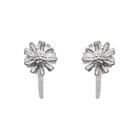 925 Sterling Silver Flower Invisible Clip On Stud Earrings - Miyabi Grace