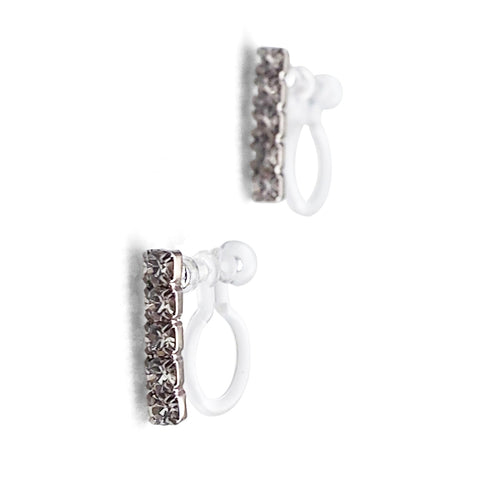 Short rhinestone bar invisible clip on earrings ( Silver tone ) - Miyabi Grace