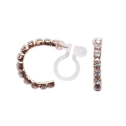 Crystal Invisible Clip On Hoop Earrings (Rose Gold tone) - Miyabi Grace