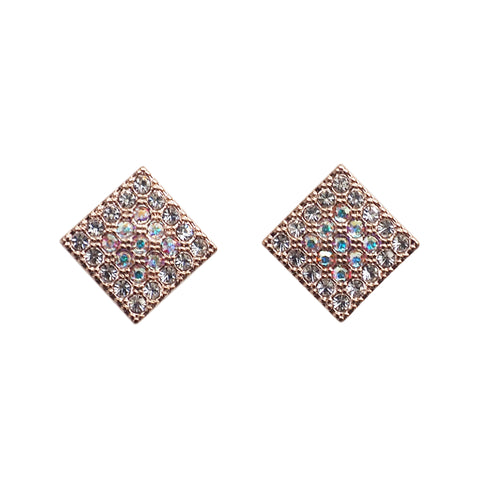 Square Swarovski Crystal Rhinestone Pave Invisible Clip On Stud Earrings ( Rose gold tone ) - Miyabi Grace