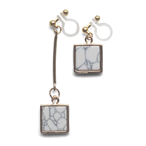 Asymmetric Square Marble Faux White Stone Invisible Clip On Earrings - Miyabi Grace