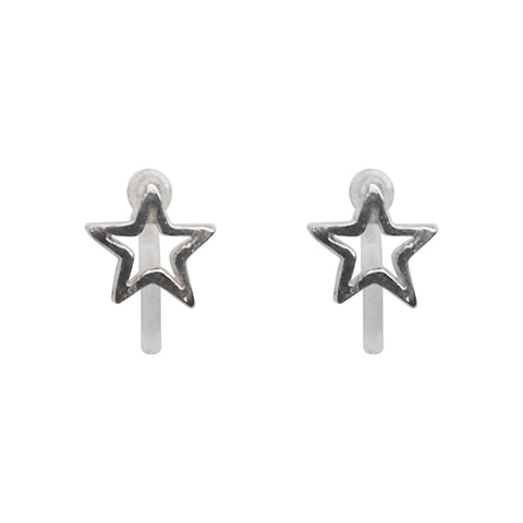 925 Sterling Silver Star Invisible Clip On Stud Earrings - Miyabi Grace