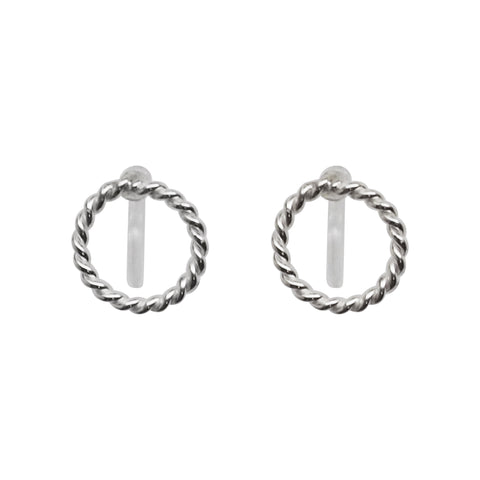 925 Sterling Silver Textured Circle Invisible Clip On Stud Earrings - Miyabi Grace