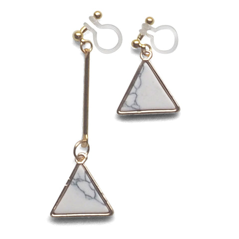 Asymmetric Triangle Marble Faux White Stone Invisible Clip On Earrings - Miyabi Grace