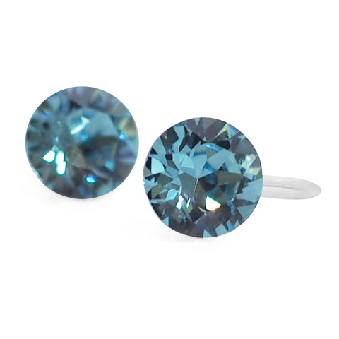 Aquamarin Swarovski crystal invisible clip on stud earrings - Miyabi Grace
